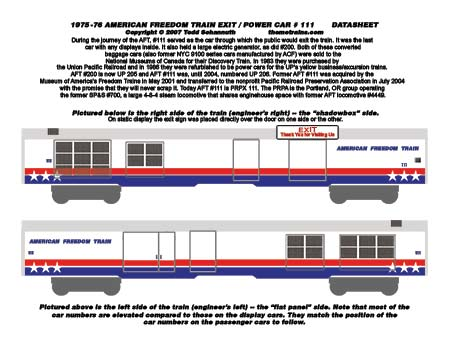 American Freedom Train Car 111 Decals by Accuen